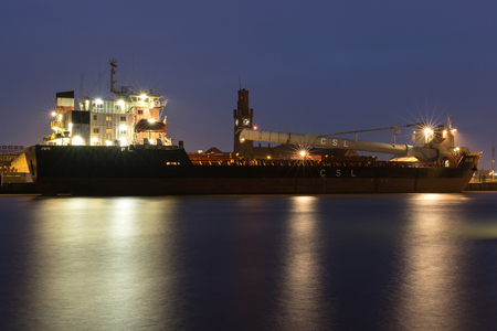 CSL ELBE discharging in the port if Cuxhaven. The Canadian CSL Group is the world's largest owner and operator of self-unloading vessels. Editorial