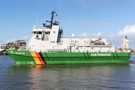 German customs boat HELGOLAND entering the port of Cuxhaven