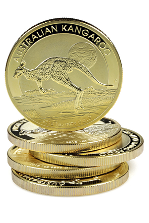 1 ounce Australian Kangaroo gold bullion coins isolated on white background Stock Photo