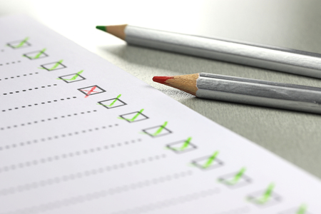 completed checklist with failure in office