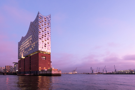 The Elbphilharmonie (Elbe Philharmonic Hall) in the HafenCity quarter of Hamburg, Germany. It is one of the largest and most acoustically advanced concert halls in the world.