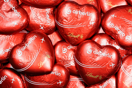 Air Berlin chocolate hearts, characteristic give-away of the former second-largest German airline, which ceased operations on October 27, 2017.