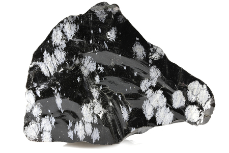 snowflake obsidian isolated on white background Stock Photo