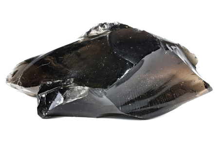 black obsidian from Armenia isolated on white background Archivio Fotografico