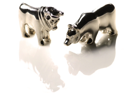 bull and bear figures isolated on white background