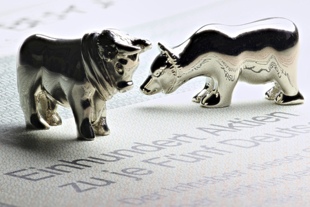 German share with bull and bear figures