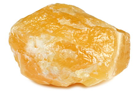 orange calcite from Mexico isolated on white background