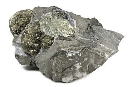 pyrite ball in matrix from Hohenems Austria isolated on white background