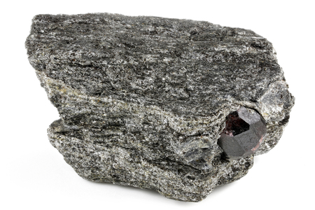 garnet on matrix from Alaska isolated on white background