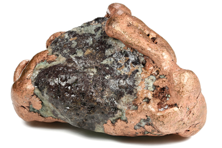 large native copper nugget (157 g) from Keweenaw, Michigan USA isolated on white background