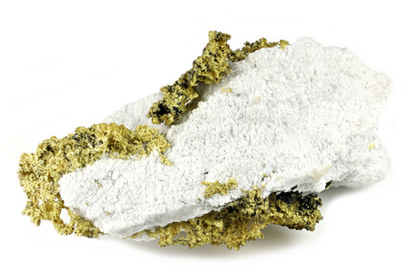 crystalline gold on quartz from Jamestown, California isolated on white background