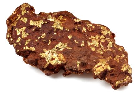 Goldnugget von den Goldfeldern von Leonora / von Westaustralien lokalisiert auf weißem Hintergrund Standard-Bild - 94819720