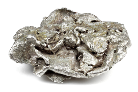 native silver nugget from Liberia isolated on white background Stock Photo