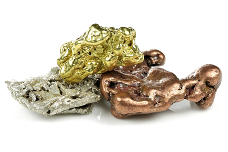 native gold, silver and copper nuggets isolated on white background