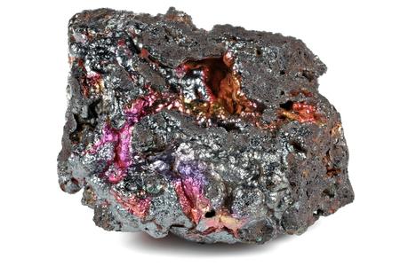 iridescent goethite from Tharsis Spain isolated on white background Stock Photo
