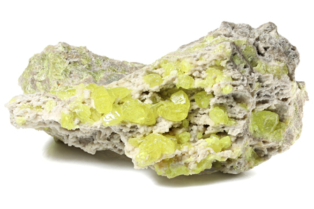 native sulfur from Sicily Italy isolated on white background