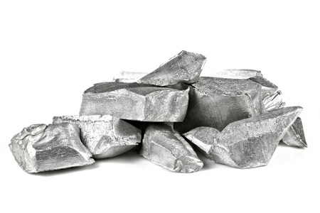 99.99% fine aluminum isolated on white background