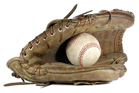 worn baseball and glove isolated on white background