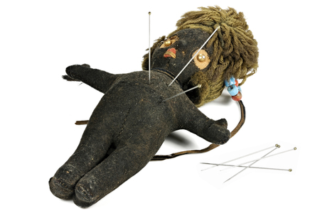 vintage voodoo doll isolated on white background Banque d'images