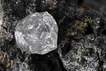 natural diamond nestled in kimberlite