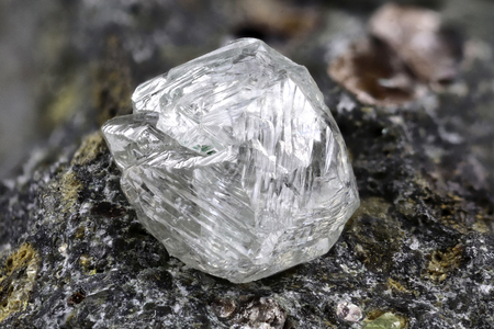natural diamond nestled in kimberlite 写真素材 - 98054848