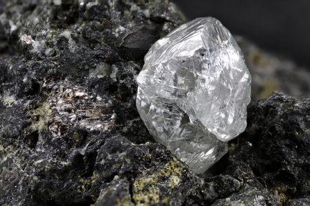 natural diamond nestled in kimberlite