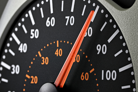speedometer of a truck at cruising speed of 80 kmh