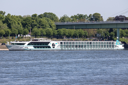 River cruise ship ANESHA of Phoenix Reisen in Cologne, Germany. ANESHA has a capacity of 180 passengers and is 135 m long.