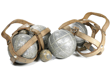 vintage petanque balls isolated on white background Stock Photo