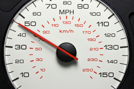 speedometer at 45 MPH Stock Photo