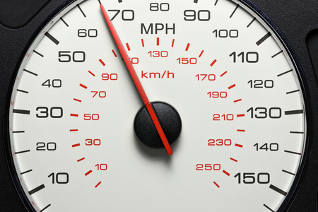 speedometer at 65 MPH