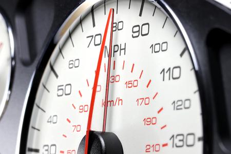 Speedometer at 80 MPH Stock Photo