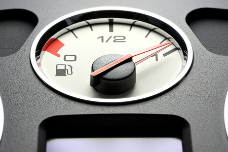 Fuel gauge in car dashboard - full Stock Photo