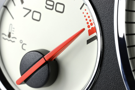 temperature gauge in car dashboard - hot Stock Photo