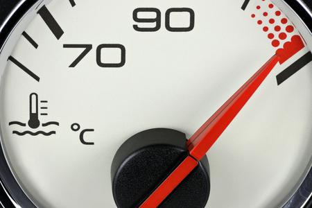 temperature gauge in car dashboard - hot Stock Photo