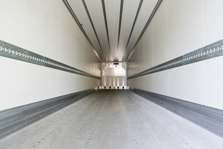 cargo area of a refrigerated semitrailer Stock Photo