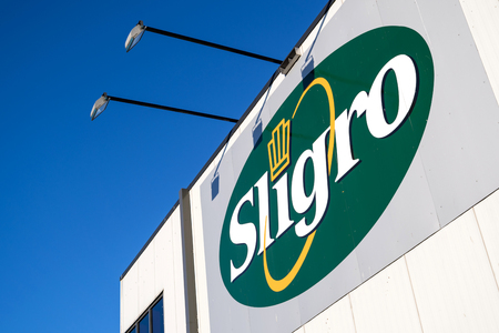 Sligro logo at cash & carry market. Sligro has a network of 50 Cash & Carry outlets and 8 Delivery Service outlets.