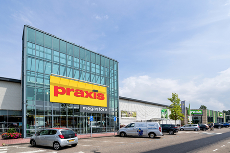 Praxis hardware store. Praxis is a leading DIY brand in the Netherlands and has a total of 146 stores and is part of the Maxeda DIY Group. Standard-Bild - 107048686