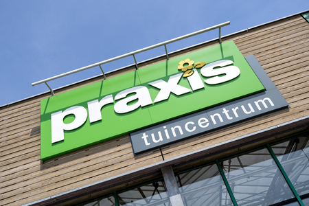 Praxis garden center sign at store. Praxis is a leading DIY brand in the Netherlands and has a total of 146 stores and is part of the Maxeda DIY Group.