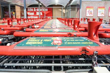 Dirk shopping carts. Dirk van den Broek is a Dutch retail company and a member of Superunie, a Dutch purchasing organization for supermarkets. Redactioneel