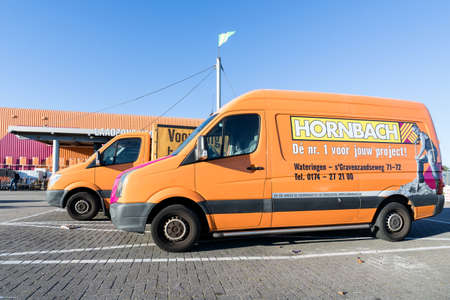 Hornbach vans at store. Hornbach is a German DIY-store chain offering home improvement and do-it-yourself goods.