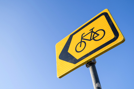Dutch road sign: diversion for cyclists