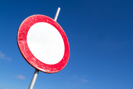 Dutch road sign: road closed in both directions to vehicles, riders and persons in charge of animals or livestock Stock Photo