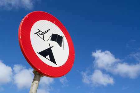 Dutch road sign: forbidden objects at the beach