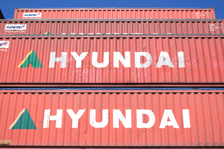 Hyundai 40 ft intermodal containers stacked in harbor. Hyundai Merchant Marine is the number one Korean national containers carrier. Editorial