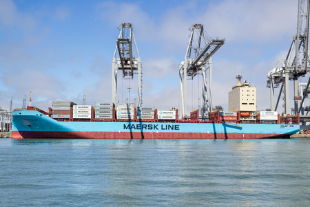 Container ship VISTULA MAERSK at ECT Delta terminal. Maersk is the largest container ship operator in the world. Stock Photo - 117053202