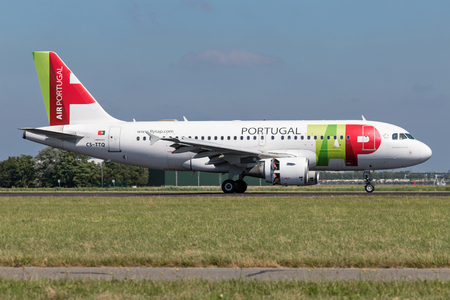 TAP Air Portugal Airbus A319-100 with registration CS-TTQ just landed on runway 18R (Polderbaan) of Amsterdam Airport Schiphol.