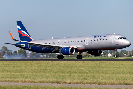 Russian Aeroflot Airbus A321-200 with registration VP-BJX  just landed on runway 18R (Polderbaan) of Amsterdam Airport Schiphol. Editorial