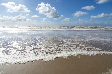 Dutch North Sea coast in Katwijk aan Zee on a stormy day