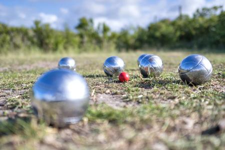 petanque balls on grass